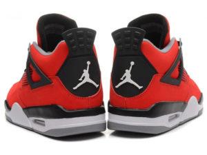 Кроссовки Nike Air Jordan 4 Retro мужские красные - фото сзади