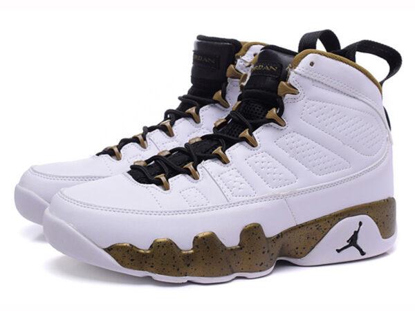 Кроссовки Nike Air Jordan 9 мужские белые с золотым