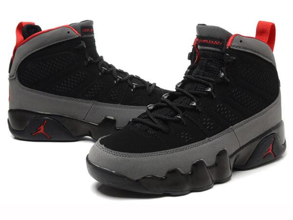 Кроссовки Nike Air Jordan 9 мужские черно-серые с красным