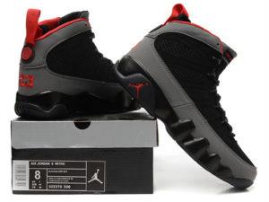 Кроссовки Nike Air Jordan 9 мужские черно-серые с красным - общее фото