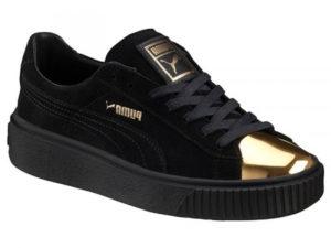 Кроссовки Puma by Rihanna Creeper женские черные с золотым - фото спереди