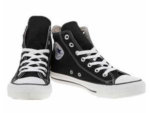 Высокие кеды Converse Chuck Taylor All Star черные с белым - фото спереди