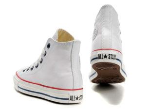 Высокие кеды Converse Chuck Taylor All Star белые - фото сзади