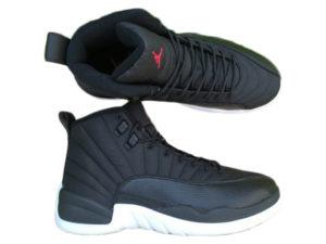Кроссовки Nike Air Jordan 12 Retro черные с белым мужские - общее фото