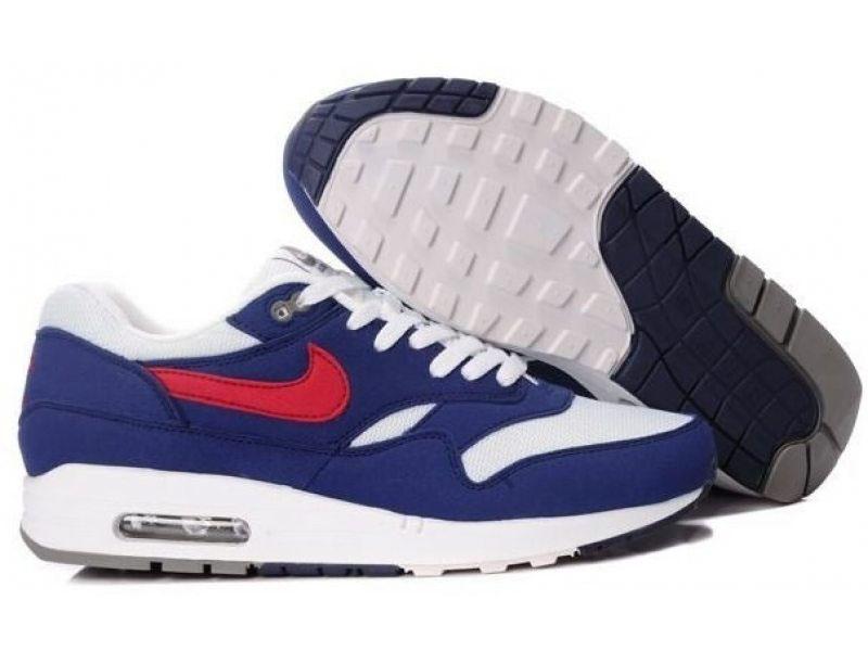 Кроссовки Nike Air Max 87 бело-синие с красным мужские