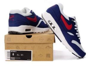 Кроссовки Nike Air Max 87 бело-синие с красным мужские - общее фото
