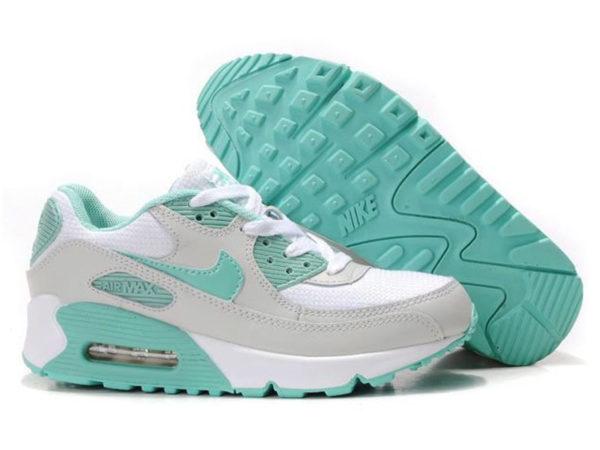 Кроссовки Nike Air Max 90 серо-белые с бирюзовым женские