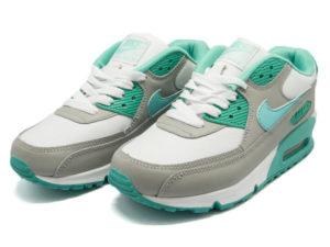 Кроссовки Nike Air Max 90 серо-белые с бирюзовым женские - фото спереди