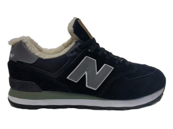 New Balance 574 на меху черные с серым (35-46)