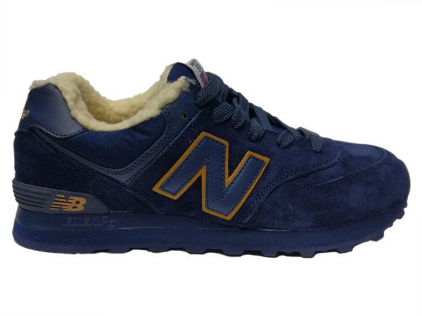 Зимние New Balance 574 темно-синие с коричневым
