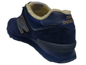 Зимние New Balance 574 темно-синие с коричневым - фото сзади