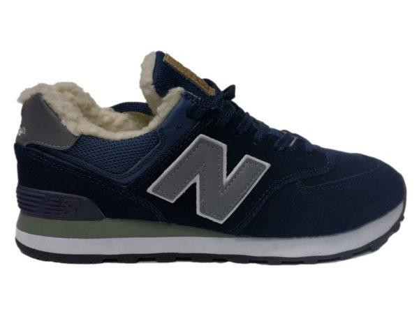 Зимние New Balance 574 темно-синие с серым
