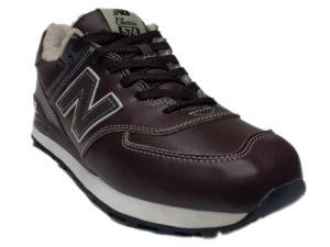 Зимние New Balance 574 Leather коричневые с белым - фото спереди