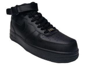 Зимние Nike Air Force 1 Low Leather Fur черные мужские и женские - фото спереди