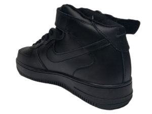 Зимние Nike Air Force 1 Low Leather Fur черные мужские и женские - фото сзади