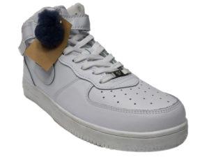 Зимние Nike Air Force 1 Low Leather Fur белые мужские и женские - фото спереди