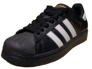 Adidas Superstar Leather черные с белым - фото спереди