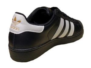 Adidas Superstar Leather черные с белым - фото сзади
