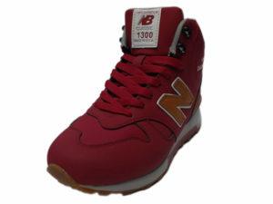 Зимние New Balance 1300 Mid Nubuck красные с коричневым