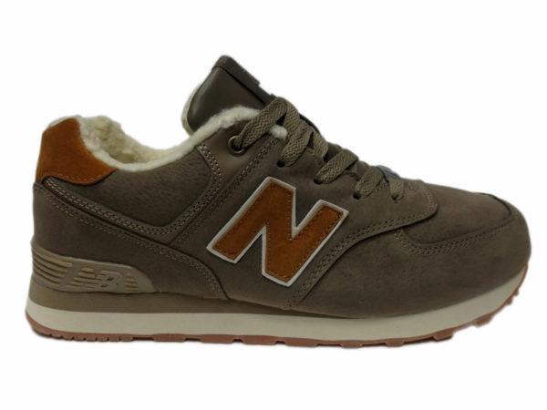 New Balance 574 на меху коричневые с бордовым (35-41)