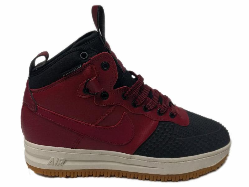 Зимние Nike Lunar Force 1 Leather красные с черным