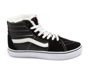 Зимние Vans SK8-Hi на меху черные с белым (35-45)
