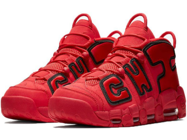 Nike Air More Uptempo Chicago Bulls красные с черным
