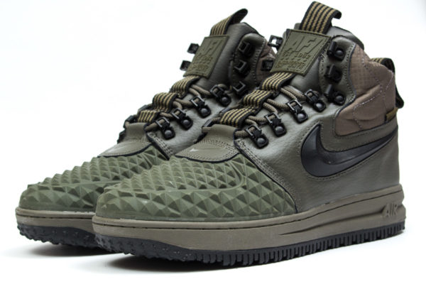 Зимние Nike Air Force 1 с МЕХОМ Lunar Duckboot green зеленые (41-45)