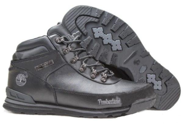 Ботинки Timberland Euro Sprint кожаные с мехом Black черные 41-46