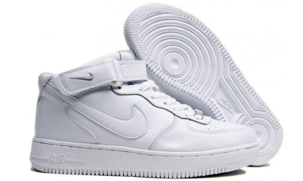 Зимние Nike Air Force 1 Mid с мехом White белые 35-45