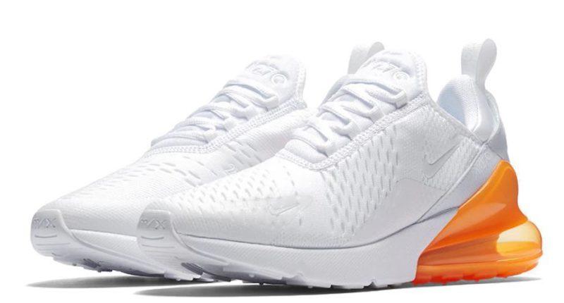 Nike Air Max 270 белые с оранжевым (35-39)