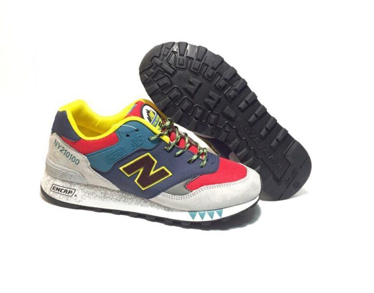 Кроссовки New Balance 577 замша-сетка сине-серые с красным 40-44