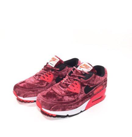 Nike Air Max 90 бархатные красные (35-39)