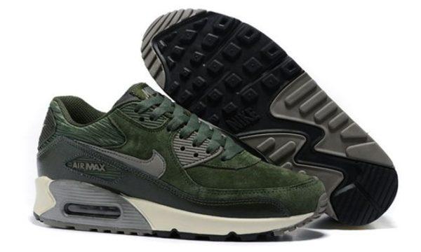 Nike Air Max 90 замша зеленые с серым (35-44)