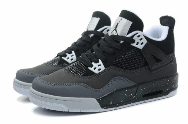 Nike Air Jordan 4 Retro серые с черным (35-45)