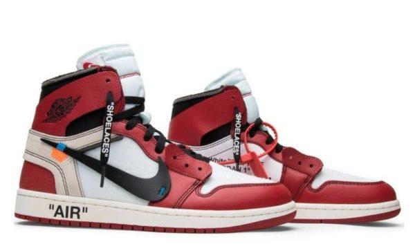 Off White x Nike Air Jordan 1 Retro красные с черным и белым (40-44)