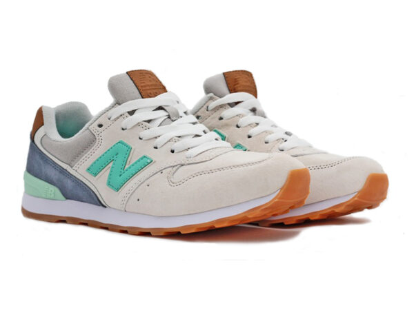 New Balance 996 замшевые бежевые с бирюзовым (36-40)
