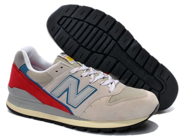 Кроссовки New Balance 996 бежевые с красным (35-39)