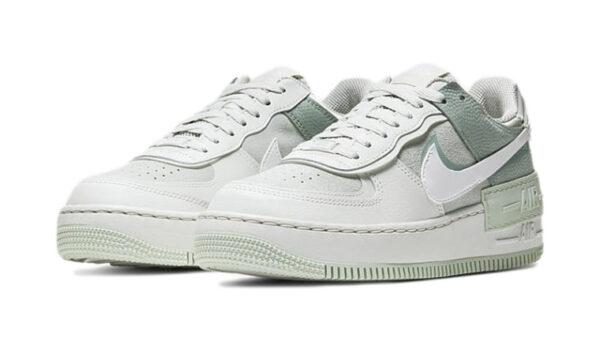Nike Air Force 1 Shadow бело-серо-зелёные кожа-нубук женские (35-39)