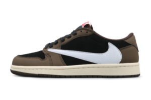 Nike Air Jordan 1 Travis Scott Low коричнево-белые с черным (40-44)