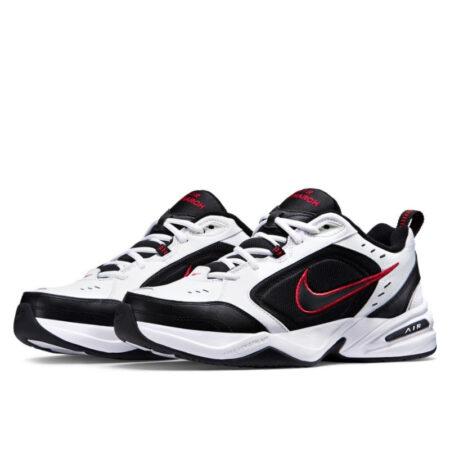 Nike Air Monarch черно-белые с красным кожаные мужские-женские (35-44)