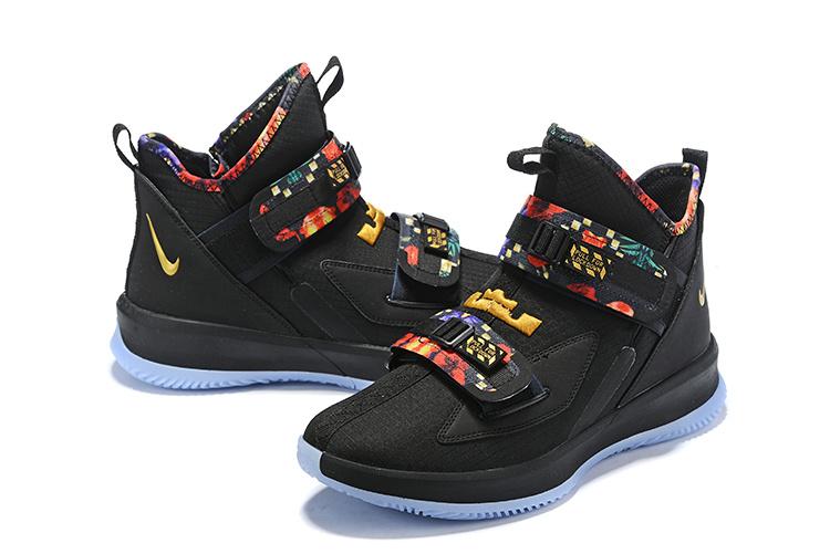 Nike Lebron Soldier 13 черные с разноцветным (40-45)