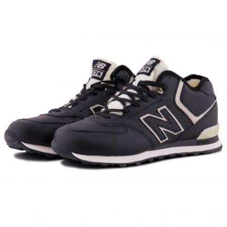 Зимние New Balance 574 Black с мехом черные с белым кожаные мужские (40-45)