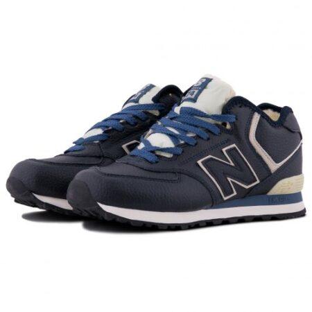 Зимние New Balance 574 с мехом синие кожаные мужские (40-45)