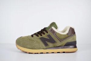 Зимние New Balance 574 зелёные с коричневым (40-45)