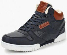 Зимние Reebok Classic Leather Mid с мехом синие с коричневым (40-45)