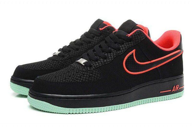 Nike Air Force 1 Low черные с красным (35-44)