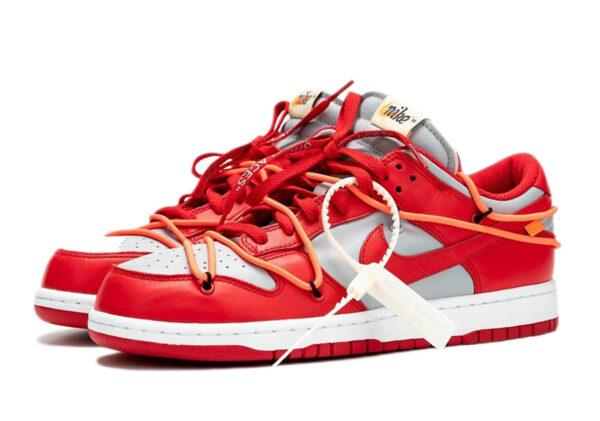 Nike Dunk Low off-White красно-серые кожаные мужские (40-44)