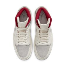 Nike Air Jordan 1 Mid Sneakersnstuff 20th бело-серые с красным (40-45)