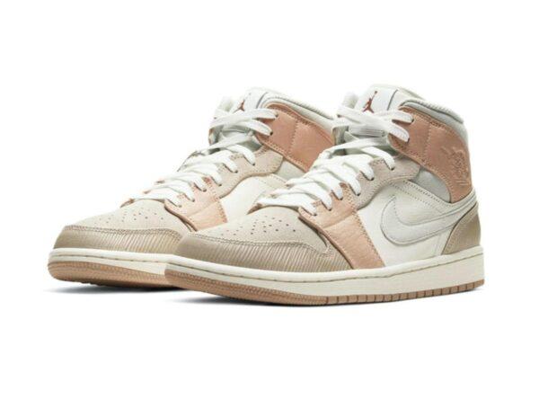Nike Air Jordan 1 Mid Milan бело-серо-бежевые кожа-нубук женские (35-40)